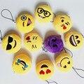 20 unids/lote 2 inch Novedad Emoji Colgante Pequeño Smiley Emoticon Suave Juguetes de Peluche Clave y Bolsa de La Cadena Correa Del Teléfono Promoción regalo