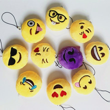 20pcs/lot  2inch Novelty Emoji Small Pendant Smiley Emoticon Soft Plush Toys Key&Bag Chain Phone Strap Promotion Gift