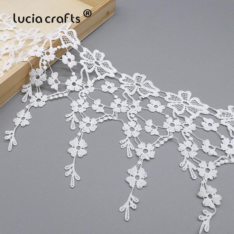 19cm 1yard/lot White Tassel Lace Trim Embroidered Flower Ribbon DIY Sewing Patchwork Wedding Headwear Accessories N0605