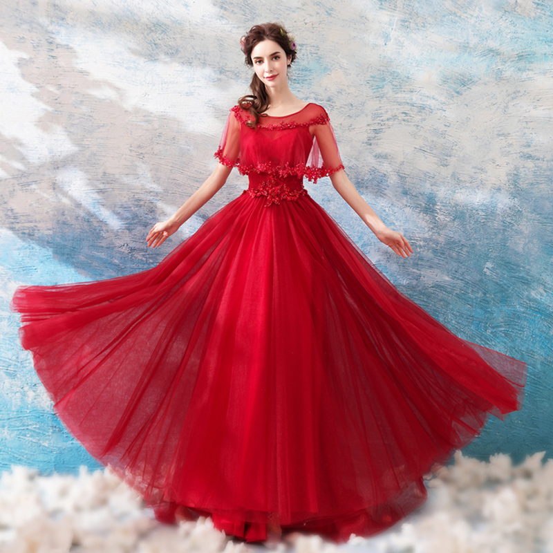 2019 New A-line   Evening     Dress   Crystal Beading Embroidery Wedding Formal Prom   Dresses   O-neck Shawl Tulle Lace Up Party Gown E201