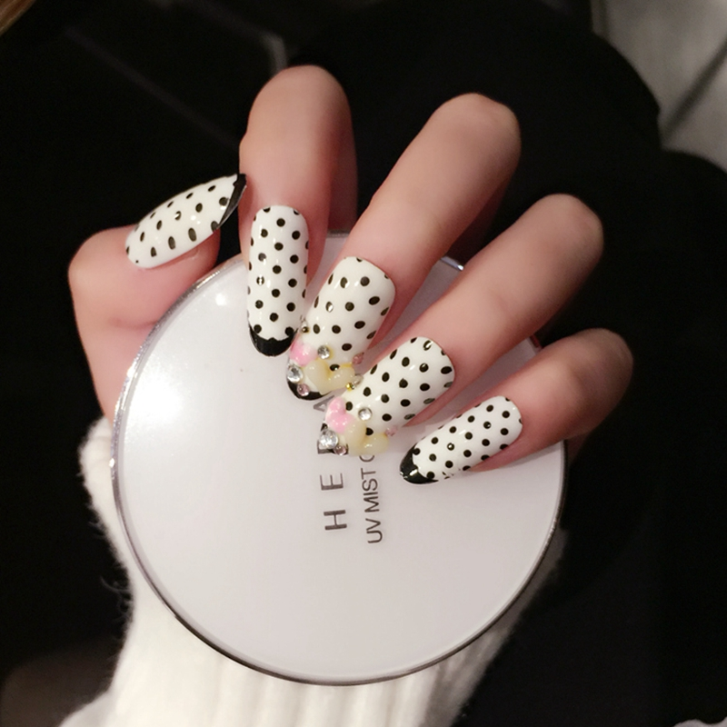 3D Heart Oval Long Fake Nails Decoration French Style White Black ...