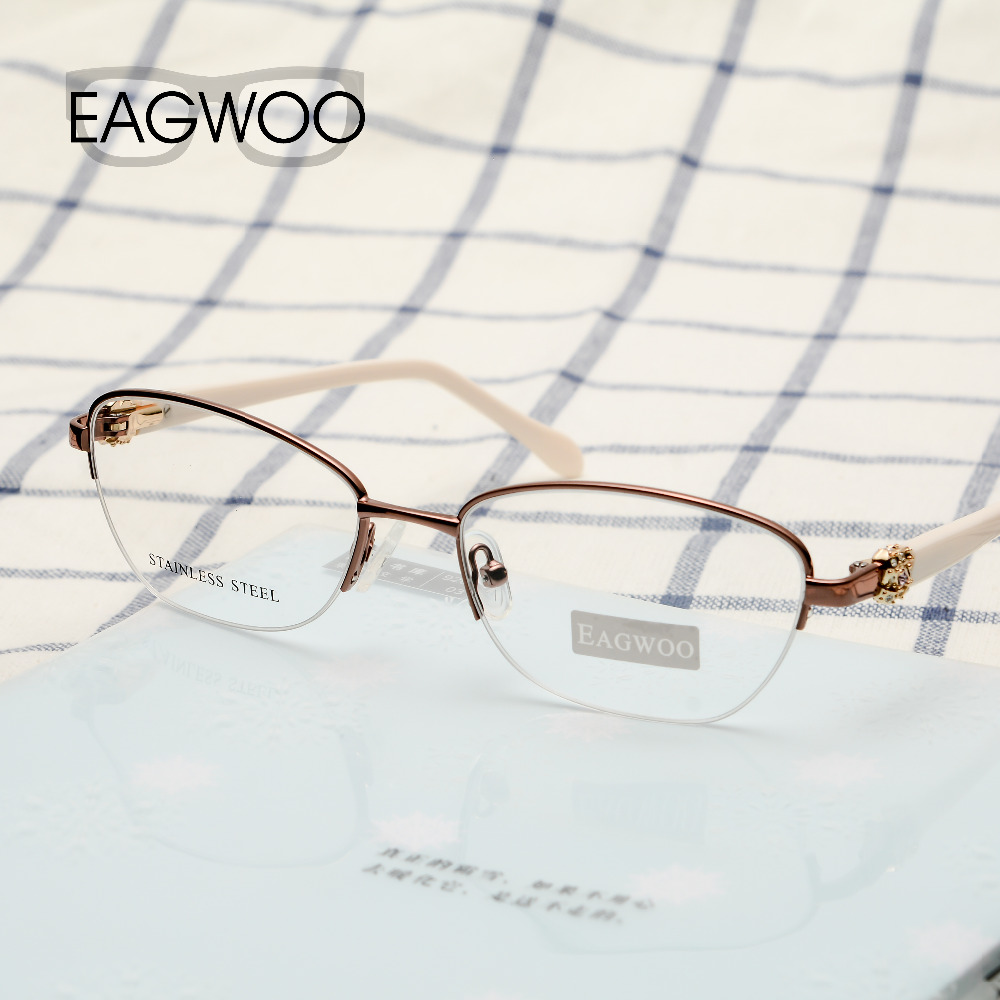 EAGWOO Women Vintage Designed Diamond Eyeglasses Half Rim Optical Frame Prescription Brand Eye Glasses Green Pink Blue 7815