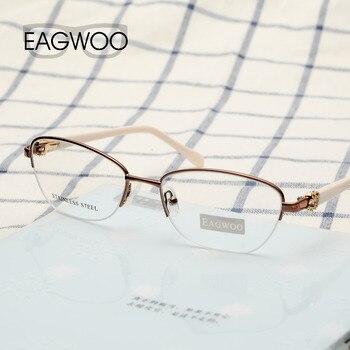 Gafas de diamante con diseño Vintage para mujer, Marco óptico de medio borde, gafas de marca con prescripción, verde, rosa, azul, 7815