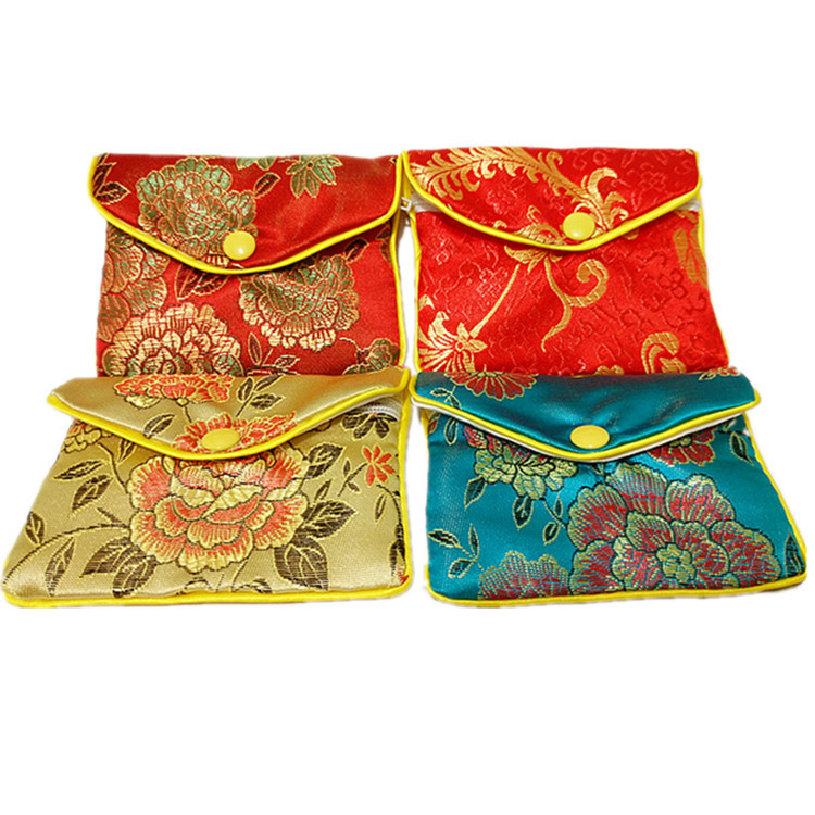 Well-liked Floral Cloth Cute Coin Purse Zip Bags Small Chinese Silk Gift Bag  OV68