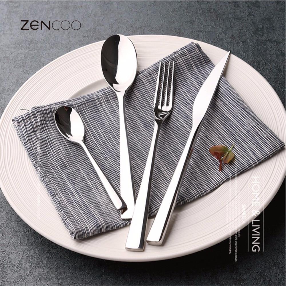 zencoo 24pcs premium stainless steel flatware silver. Black Bedroom Furniture Sets. Home Design Ideas