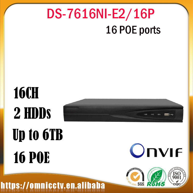 Origial Hikvision DS 7616NI E2 16P CCTV NVR 16CH POE HD IP Camera 6MP Network Video