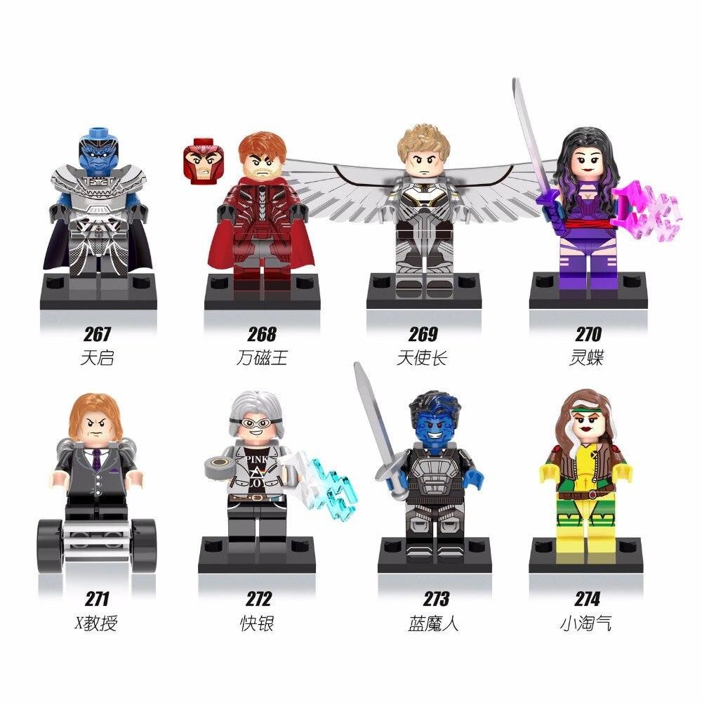 X-Series 8PCS DC Heroes Building Blocks Set,Apocalypse Professor X Archangel Magneto Nightcrawler Rogue Construction Brick Toys