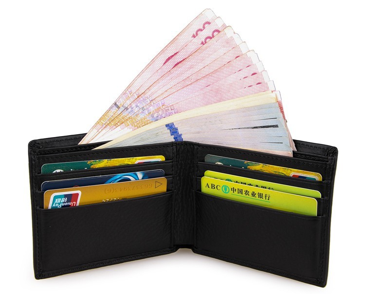 J.M.D Simple Design Genuine Leather Mens Credit Card Holder Fashion Black Short Purse Causal Business Card Wallet 8029A