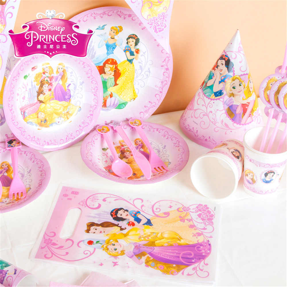 Princesa tema fontes do partido de Aniversário Dos Miúdos Set Pacote de evento da Festa de Aniversário Do Bebê Decoração Do Partido talheres descartáveis