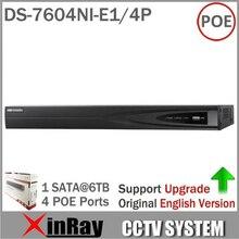 ХИК DS-7604NI-E1/4 P NVR Экономического 4CH POE NVR для Ip-камера Системы ВИДЕОНАБЛЮДЕНИЯ ONVIF 4 POE Интерфейсы Поддерживают обновление