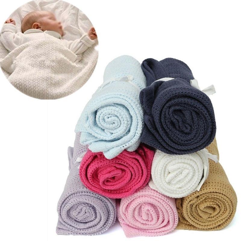 Baby Bettwäsche Decken Swaddles Super Weiche Baumwolle Häkeln Sommer Candy Farbe Prop Krippe Hohl Wrap Hohl Schlaf Decke D30