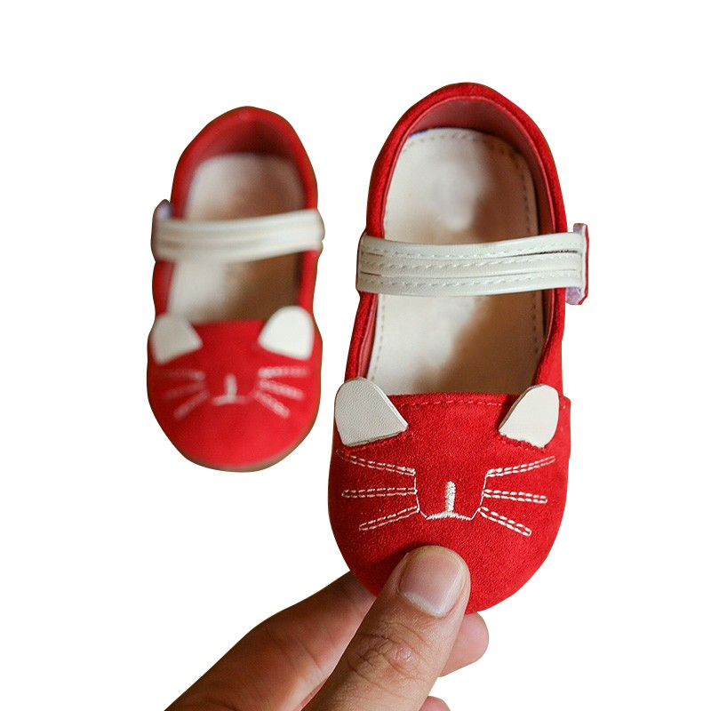 2018 Children Casual Shoes Solid Red Little Girls Cat Headers Double Sided Velvet Antiskid Shoes Suit For 1-6 Years Baby Girls