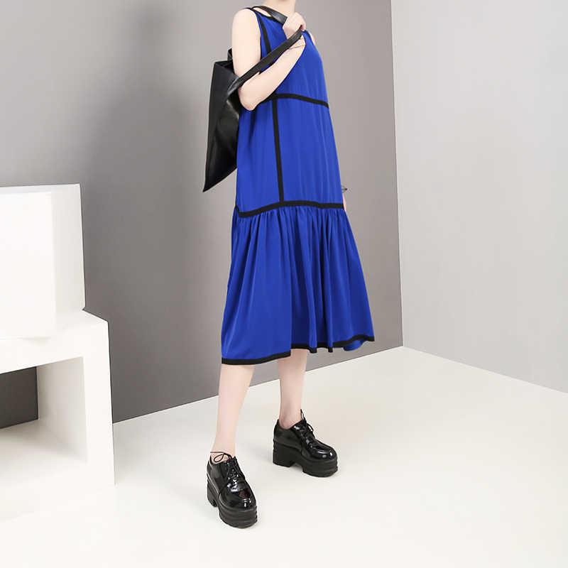 Женский сарафан средней длины, повседневный сарафан без рукавов до колен в корейском стиле, модель 5323 на лето, 2019