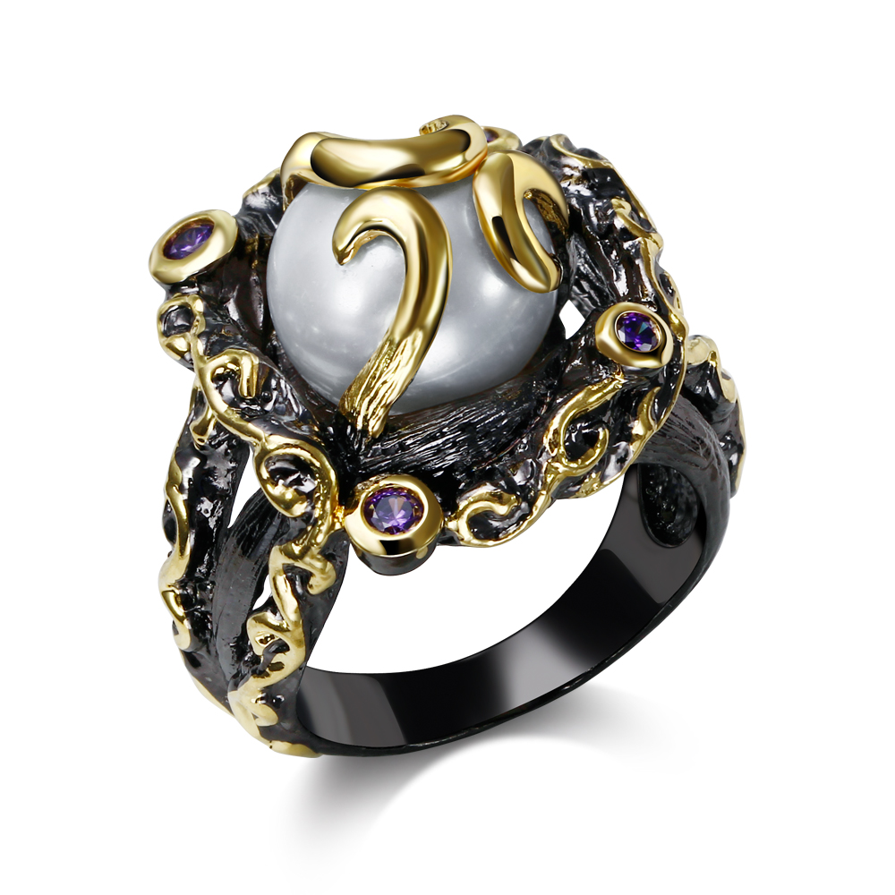 Vintage black rings for girl cubic zircon white pearl Vintage style fashion rings