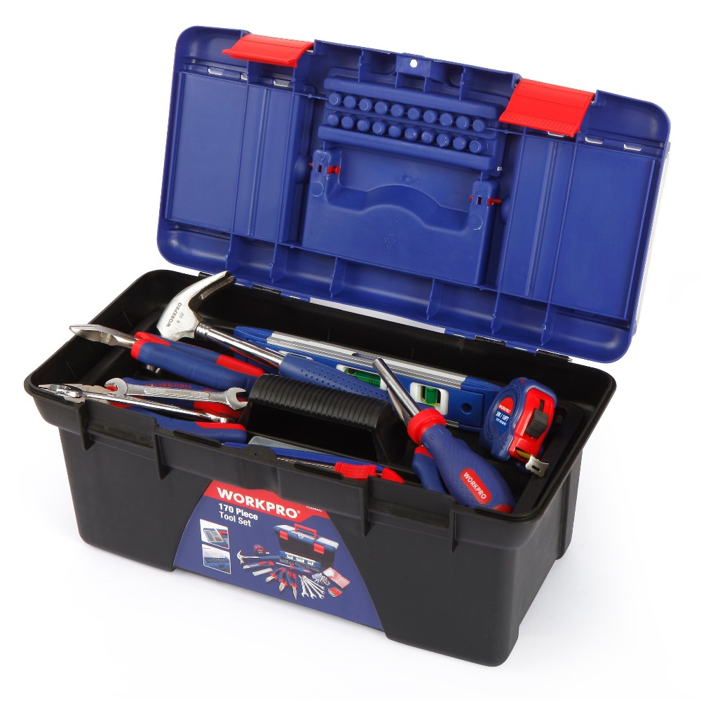 Купить с кэшбэком WORKPRO 170PC Household Tool Set Home Tools Plastic Tool Box Set