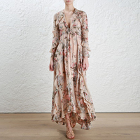 2018 Dress Women Robe Top Fashion New Maxi Dress Summer Retro Floral Lotus Leaf For Irregular V neck Long Sleeves Slim Female