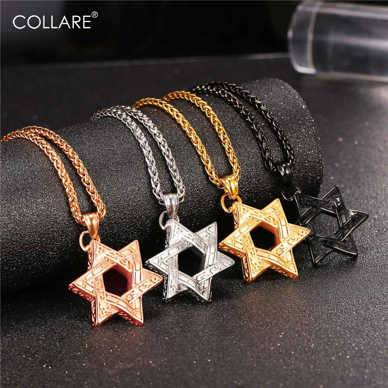 Collare Magen David Star Necklaces & Pendants Gold Color Stainless Steel Necklace Women Jewish Israel Jewelry Men Pendant P052