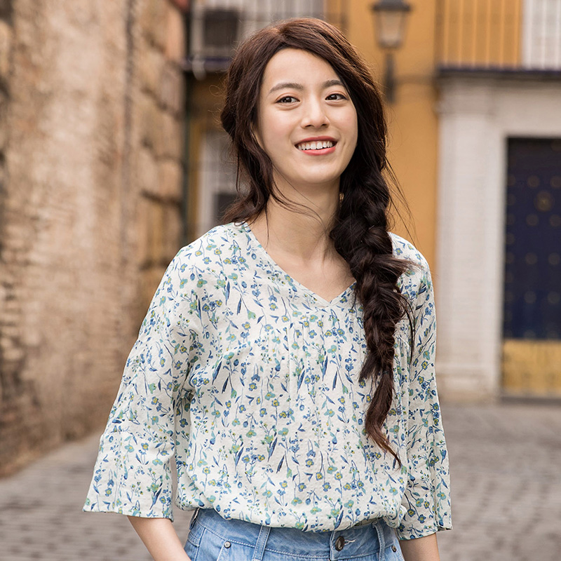 INMAN Summer Blouse Fresh Style Three Quarter Sleeve Loose Blusas Feminina 2018 Floral Women Clothes