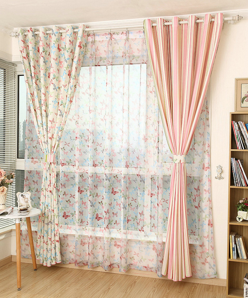 Us 11 53 43 Off Ready Made Eco Friendly Unsymmetry Erfly Curtains For Nursery Living Room With Fl Stripes Drape Washable In