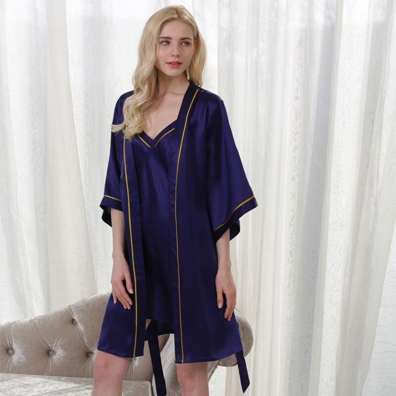 100% QualitäT Yier Neue Sommer 100% Maulbeerseide Schlinge Nachthemd Hohe Qualität Nachtwäsche Trainingsanzug Weibliche Sexy Versuchung Robe Set Angenehme SüßE