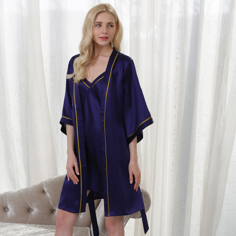 YIER New Summer 100% Mulberry Silk Sling Nightdress High Quality Sleepwear Tracksuit Female Sexy Temptation Robe Set
