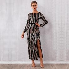 Neueste Celebrity Party Lange Kleid Frauen Lange Hülse O ansatz Pailletten Sexy Split Nachtclub Backless Maxi Kleid Frauen Vestidos