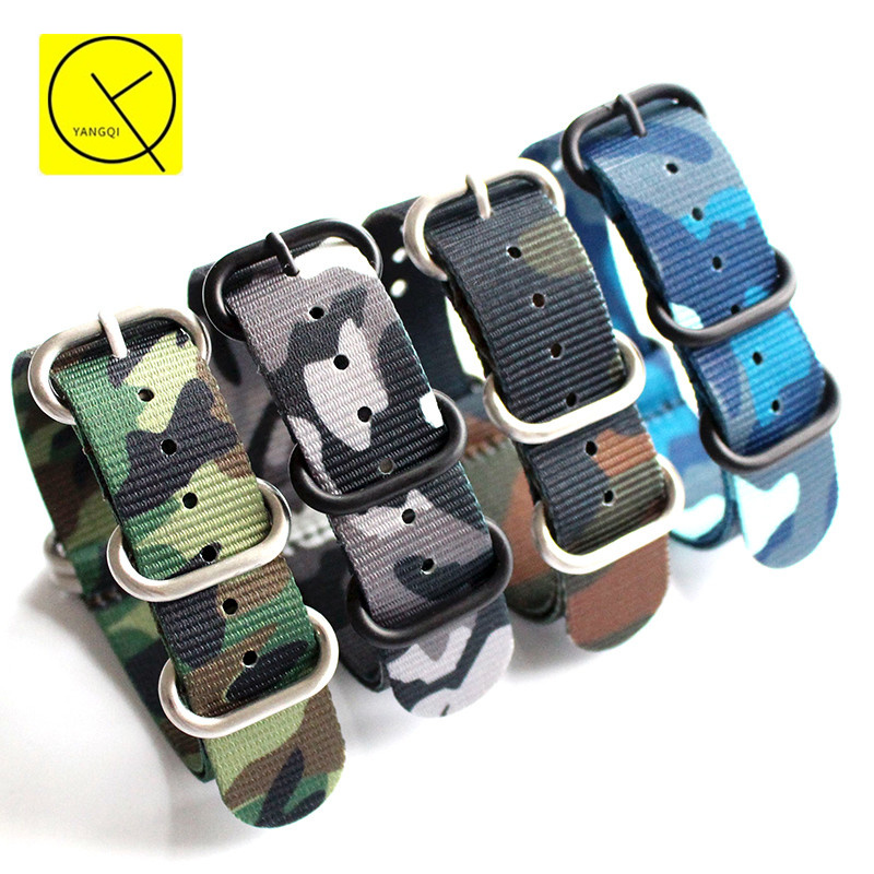 18mm 20mm 22mm 24mm Camouflage Watchband Sport for Rolex_Watch for Omega for Panerai Band Nylon Strap Nato Bracelet Length 270mm