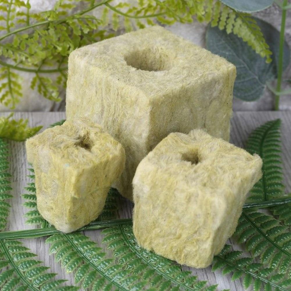 Planting Soilless Cultivation Mini Blocks Practical Eco-friendly Ventilative Rockwool Cubes Compress Base Hydroponic Grow Media