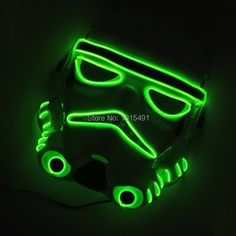Hot Selling 10 Color Choice Sparkling EL wire Mask with Function of Sound Active&Flashing Newest Design Glittery LED Neon Mask
