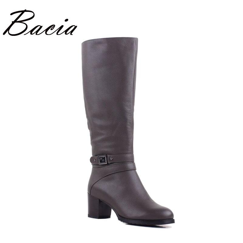 Bacia Women Knee High Boots Genuine Leather High Heel Boots Wool Long Plush Warm Winter Shoes Buckle Zipper Ladies Shoes VB097 bacia women genuine leather over knee boots low heel shoes warm wool fur