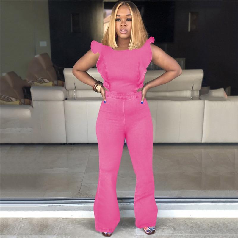Women Sexy Maxi Backless Denim   Jumpsuits   Streetwear Flare Sleeve Bodycon Jeans Bell Bottom Blue Pink Green Romper Plus Size 3XL