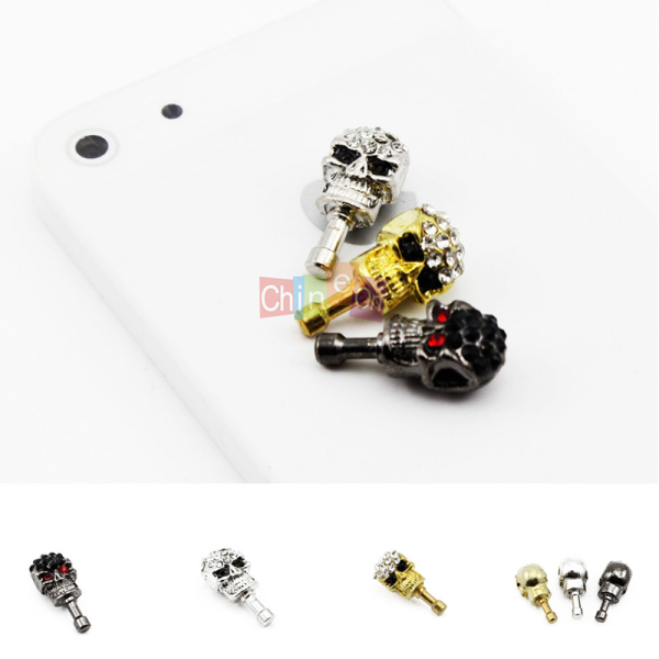 2Pcs Rhinestone Skull Head Earphone Plug Anti Dust Proof Cap Stopper for iPhone 5 5G phone