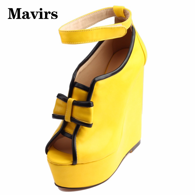 Mavirs 2017 Summer Fashion Platform Wedges Yellow High Heels Sandals Women Ladies Wedding Party Shoes Ankle Strap Sandalias women martin boots 2017 autumn winter punk style shoes female genuine leather rivet retro black buckle motorcycle ankle booties