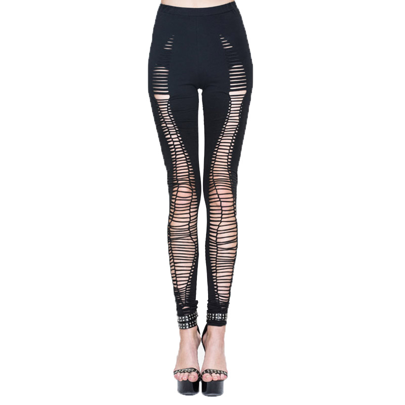 Steampunk Gothic Women's Summer Pants Hole Leggings Trousers For Women With Elastic Waist Fashion Black Long Pants Capris 2017