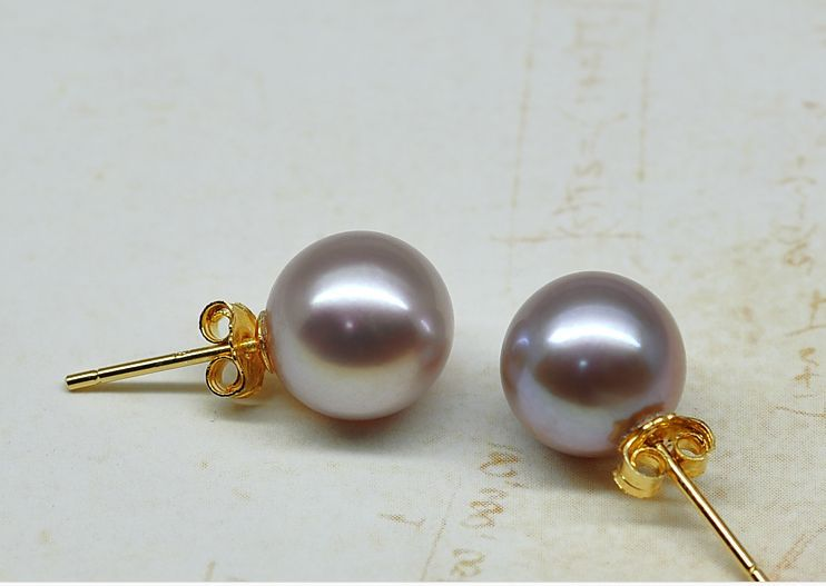 GORGEOUS pair of AAA++10-11mm south sea lavender pearl stud earring 14kGORGEOUS pair of AAA++10-11mm south sea lavender pearl stud earring 14k