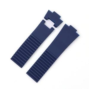 Image 5 - CARLYWET 25*12 ミリメートル卸売ブラックブラウンブルー防水シリコーンゴム交換手首時計バンドストラップベルト Ulysse ナーディン