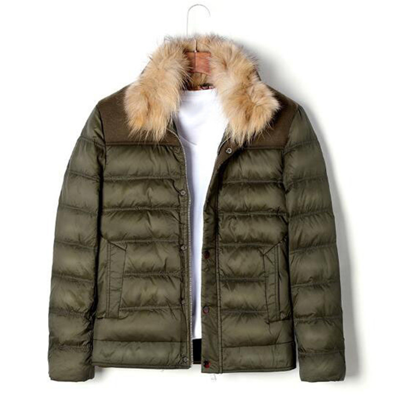 купить Fashion Men Army Green Fur Collar Winter Coat Parkas Outwear Warm Plus Size 2Xl 3Xl Jacket Deep Blue For Male A4007 недорого