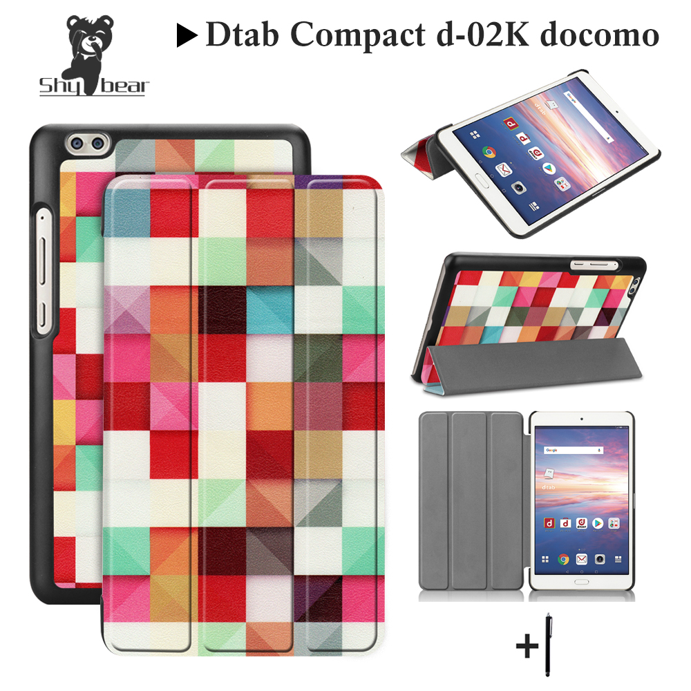 Silk Printing Case For docomo dtab Compact d-02K dtab-02K 8.0 Case for d-02K docomo Trifold Stand Quality Cover Case+gift