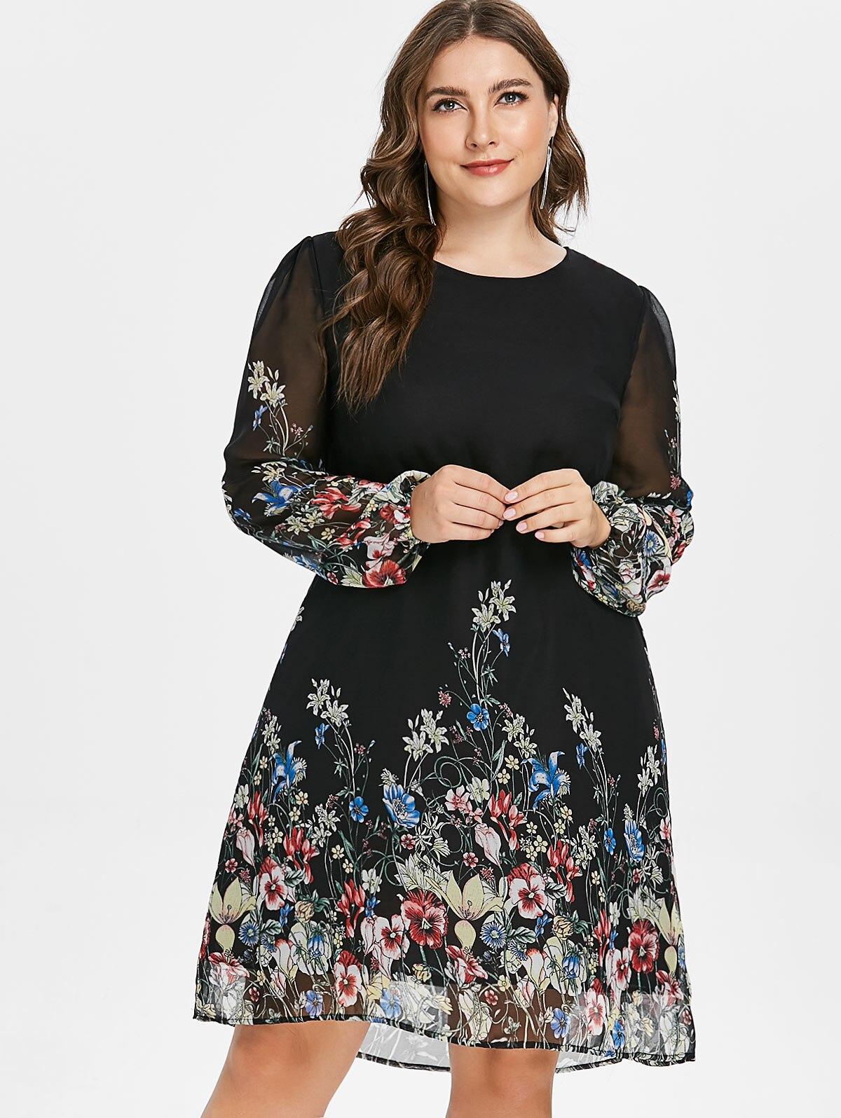 8e45026e5315 Wipalo grande taille imprimé Floral tunique femmes robe à manches longues  automne élégant Tribal fleur imprimer Vocation chemise robe en mousseline  de soie ...