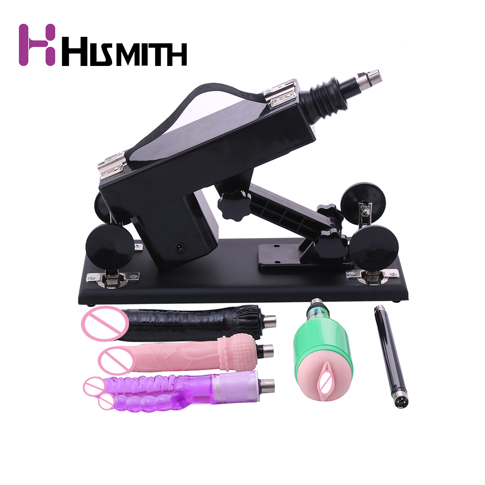 HISMITH Automatic Sex Machine Gun Set with Black Big Dildo and Vagina Cup Adjustable Speed Pumping Gun Sex Toys for Women hismith automatic machine gun amazing power love sex machine with deluxe attachment set sex machines for women and men sex toys