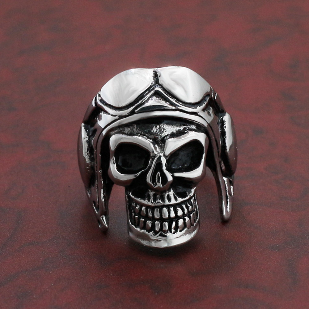 Dropshipping Wholesale 316L Stainless Steel Jewelry Skull Astronaut Punk Man`s Ring J124