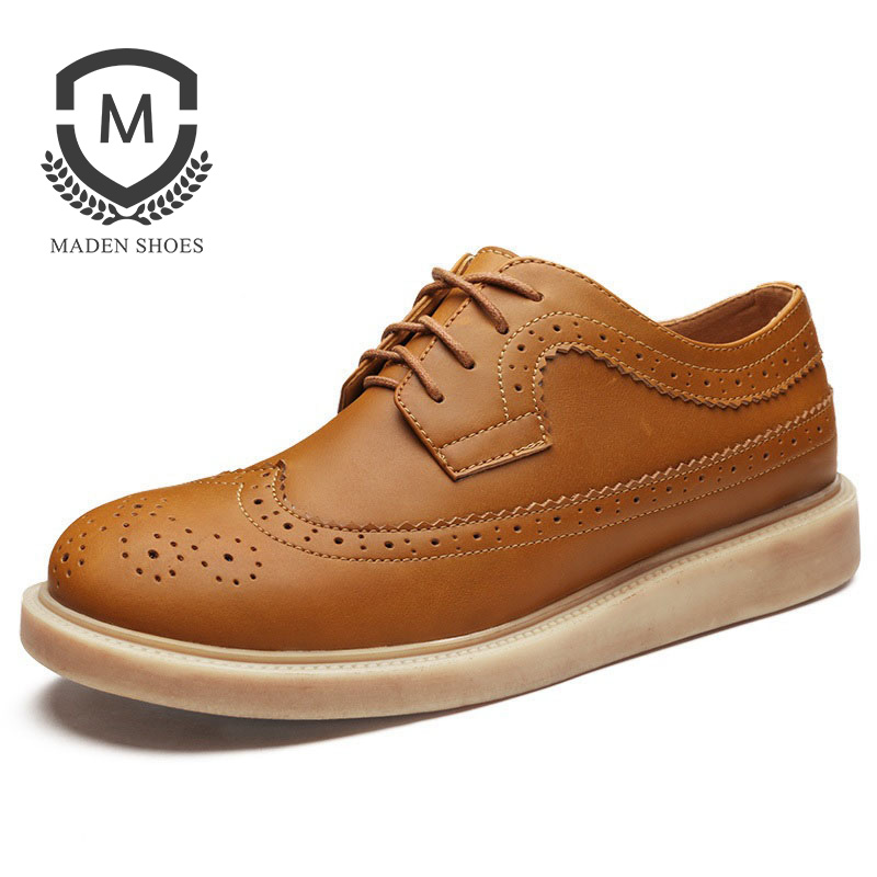 Maden Brand 2018 Spring Shoes Hot  Casual  Brown Fashion Mens Shoes Brooker High Quality Oxfords Handmade Top Genuine Male Shoe hot sale mens italian style flat shoes genuine leather handmade men casual flats top quality oxford shoes men leather shoes