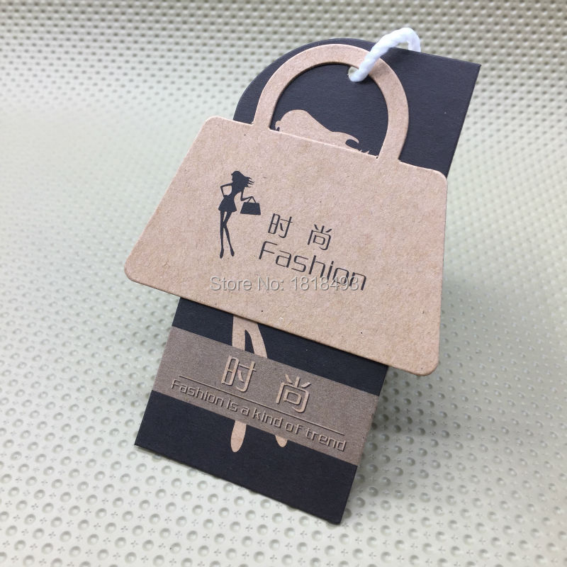 customize shape cutting labels/clothing kraft paper hang tag/garment bag printed tags/ca ...