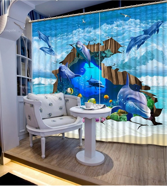 Custom European 3d Curtains Dolphin Living Room Curtain Curtains For  Bedroom Blackout Ready Made Curtains Part 86