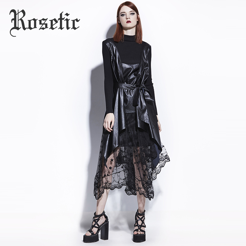 Rosetic Gothic Coat Asymmetric Black PU Leather Fashion Women Fall Goth Overcoat Tops Not Include Skirt Dark   Trench   Gothics Coat
