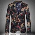Primavera otoño moda diseñador 3D Floral para hombre con estilo único terciopelo slim Fit blazer, Causal de la flor fresca más el tamaño XXXL Blazers para el hombre