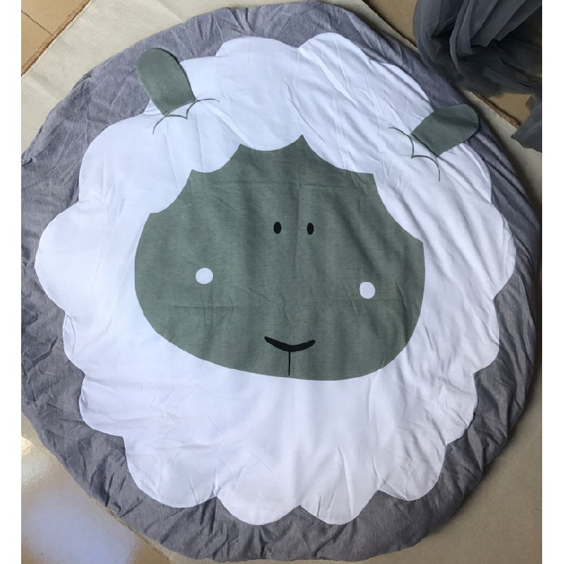 Cartoon Animals Sheep Quilted Round Play Mats Baby Blankets Crawling Rug Carpet For Nordic Kids Bed Room Decor Photo Props