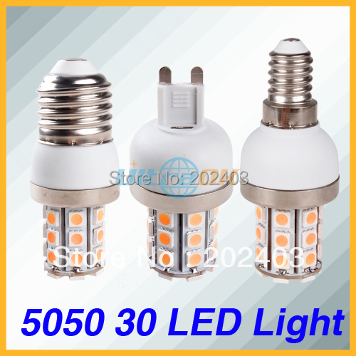 G9/E27/E14 220V 110V 7W 5050 SMD 30 LED Cool / Warm White Corn Light Bulb  with Cover