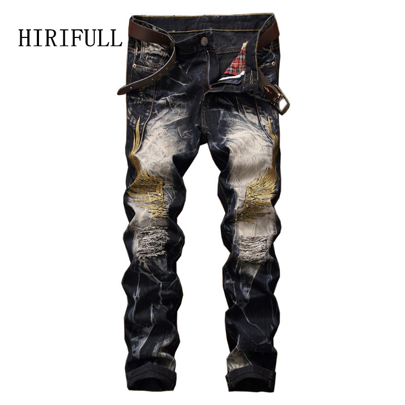 2017 Vintage Wings Embroidery Hip Hop Biker Men Jeans Pants Fashion Casual Hole Ripped Straight Denim Slim Fit Mens Trousers mens casual elastic ripped drape denim hip hop slim fit distressed biker jeans pants black straight pencil trousers multi zipper