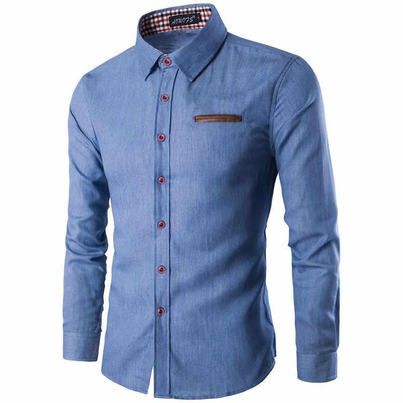 64d240857cac ... Новый 2018 Для мужчин джинсовая рубашка с длинными рукавами брендовая  одежда мужской Slim Fit рубашки джинсовой ...